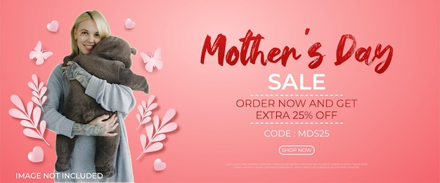 Happy mothers day sale with some hearts and butterflies