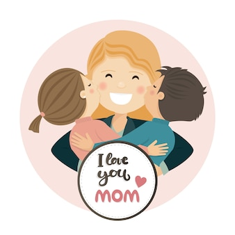 Happy mothers day scene. family hug
