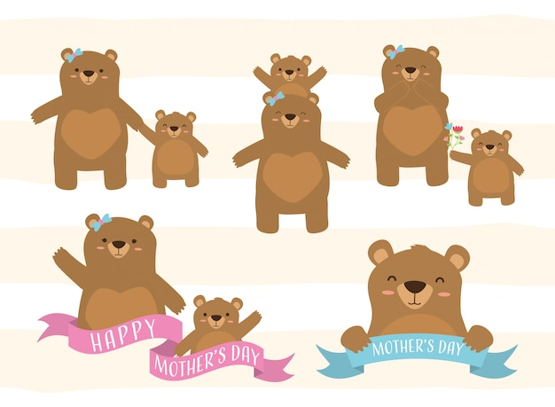 Happy mothers day set of bear mom and a little bear illustration