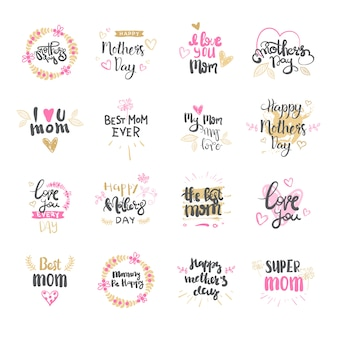Happy mothers day set of logo isolated for holiday greeting card design