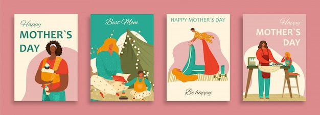 Happy mothers day set with mom and baby child, daughter, son cartoon  illustration, home motherhood concept.