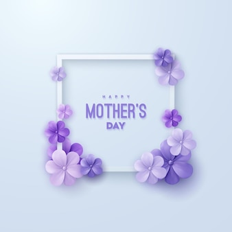 Happy mothers day sign with purple flowers