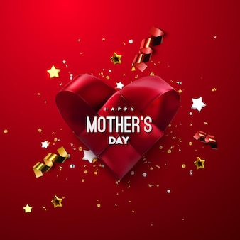 Happy mothers day sign with red woven fabric heart and confetti