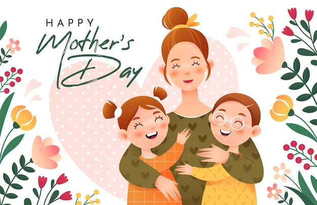 С днем матери. улыбающаяся мама обнимает своих детей. мама, дочь и сын.