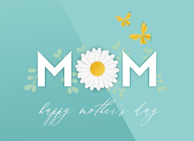 Счастливый день матери весенний праздник баннер. день матери поздравительной открытки бумаги вырезать дизайн с цветочными элементами типографии плакат. векторная иллюстрация