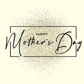 Happy mothers day text on the gliiter gold texture. design element. for business, marketing and advertising. vector on isolated background. eps 10.