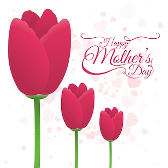 Happy mothers day tulip flower decoration card