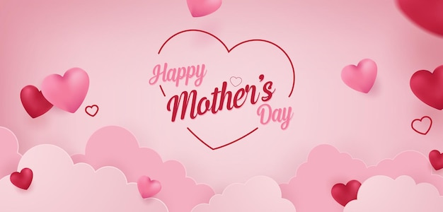 Happy mothers day vector banner concept background illustration