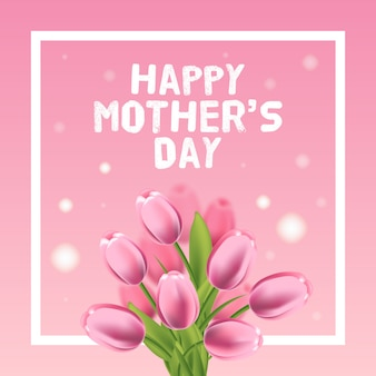 Happy mothers day vector card illustration with pink tulip