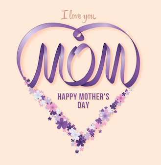 Happy mothers day. vector festive holiday illustration with lilac ribbon heart and flowers