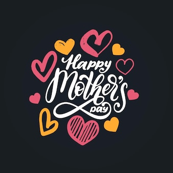 Happy mothers day vector hand lettering.