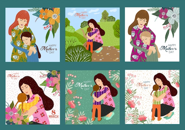 Happy mothers day. vector set templates with mother and child
