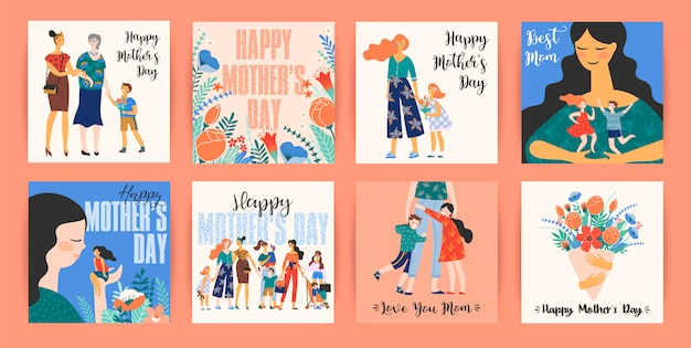 Happy mothers day. vector templates with women and children.