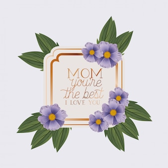 Happy mothers day victorian square frame with flowers