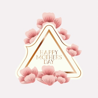 Happy mothers day victorian triangle frame with flowers
