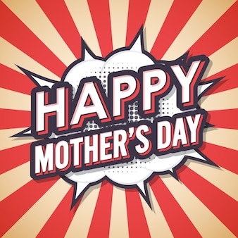Счастливый день матери винтаж ретро комиксов речи пузырь