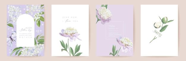 Счастливый день матери набор акварельных карт. приветствие мамы минимальный дизайн открытки. шаблон рамки цветы пиона вектора. типография мать весенний цветок. современная брошюра женщина