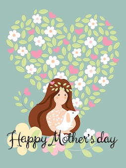 심장 모양의 배경에 꽃과 잎에 개를 들고 귀여운 소녀와 함께 행복 한 어머니 날