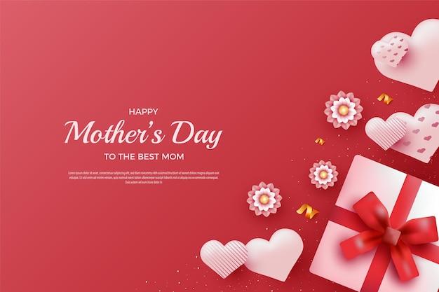 パターン化された風船とリアルで甘い花で幸せな母の日