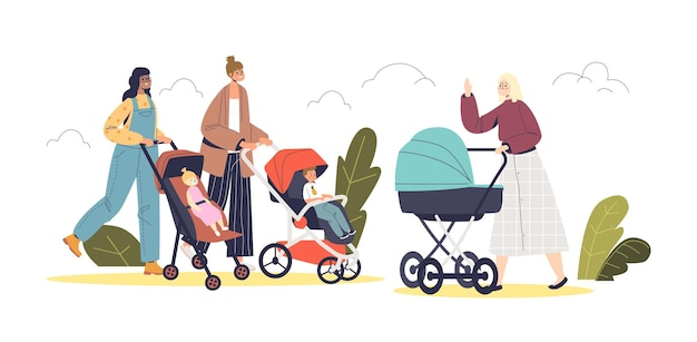Happy mothers with infant kids in strollers walk in park outdoors. young women pushing prams with little children on fresh air. cartoon flat vector illustration
