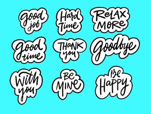 Happy and motivation phrases set hand drawn black color lettering text doodle style