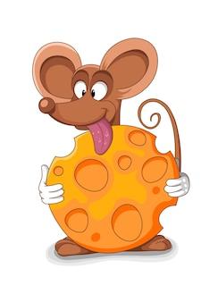 Счастливый мультфильм мыши - векторные иллюстрации. укушенный кусок сыра.