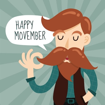 Happy movember background design with cute gentleman cartoon