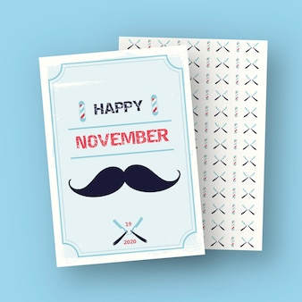 Happy movember card with pattern
