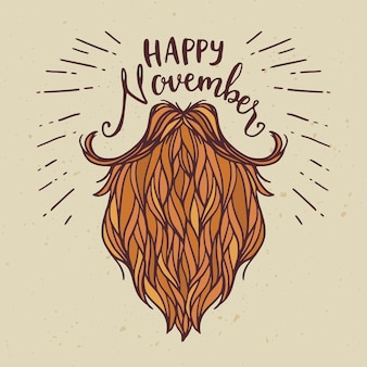 Happy movember hand drawn background