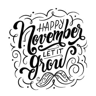 Happy movember moustache lettering