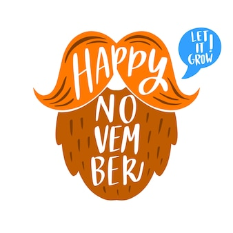 Happy movember with lettering design