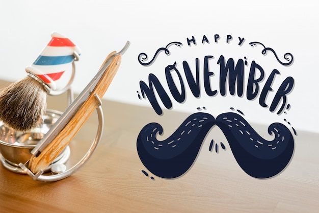 Happy movember with moustache lettering