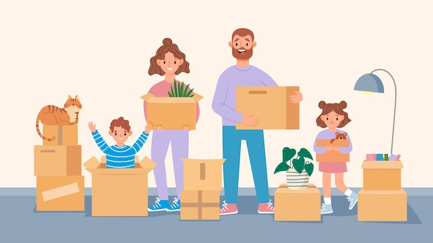 Happy moving family. cartoon parents and kids move to new home, packing belongings. people carry boxes. moving to apartment vector concept. illustration family moving indoors, smiling and happy
