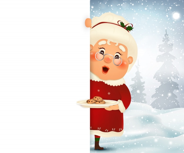 Happy mrs. claus cartoon character standing behind a blank sign with cookies, showing on big blank sign with falling snow. illustration