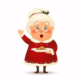 Happy mrs. claus cartoon character  on white background.