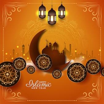 幸せなムハッラムとイスラムの新年の美しいモスクの背景ベクトル