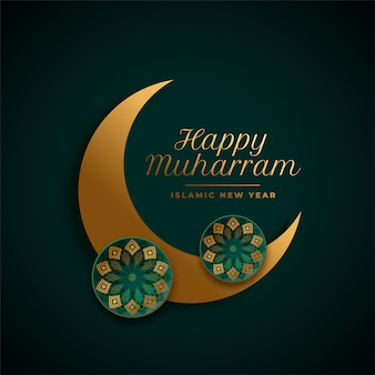 Happy muharram background with islamic moon decoration