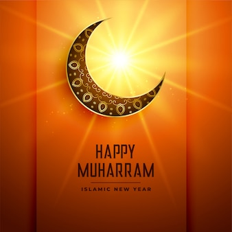 Happy muharram background with moon and glowing star