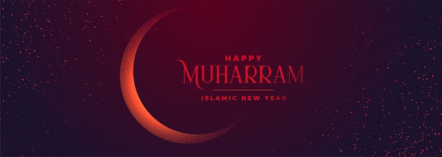 Happy muharram festival banner for islamic new year