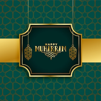 Happy muharram festival greeting islamic background