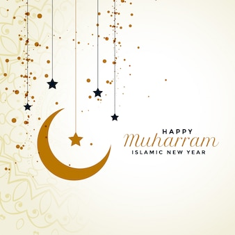 Happy muharram greeting with moon and star background