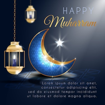 Happy muharram greeting with realistic lantern and elegant crescent moon