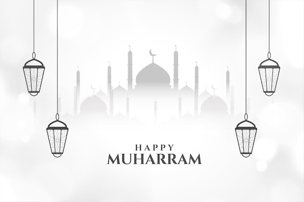 Happy muharram islamic card with mosque and lanterns