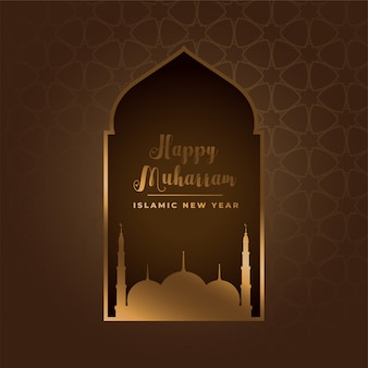 Happy muharram islamic festival background with golden mosque
