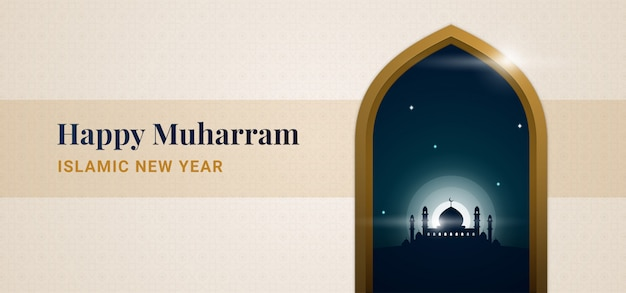 Happy muharram islamic new hijri year background