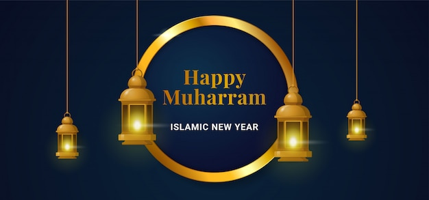 Happy muharram islamic new hijri year golden circle ring frame background