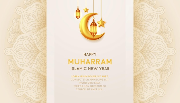 Happy muharram islamic new year background with with hanging lantterns