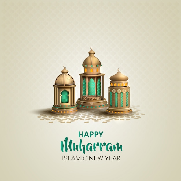 Happy muharram islamic new year card design with three gold lanterns