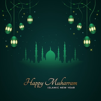 Happy muharram and islamic new year greeting card with silhouette of mosque