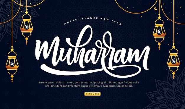 Happy muharram lettering background